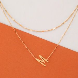 Gold Double Layer Initial M Necklace